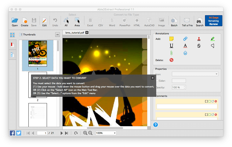 able to extract pdf converter
