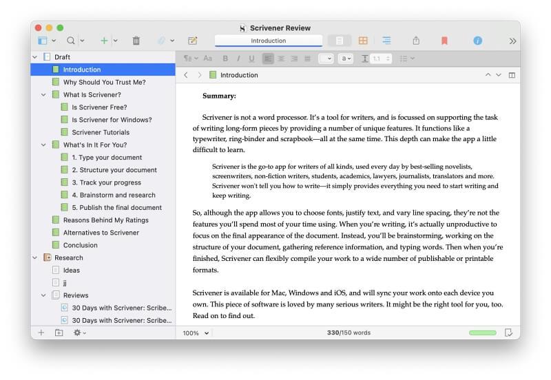 Change Default Font in Scrivener3
