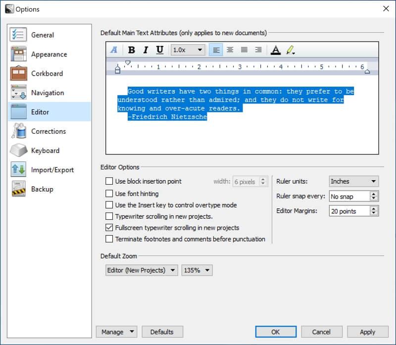 Change Default Font in Scrivener4
