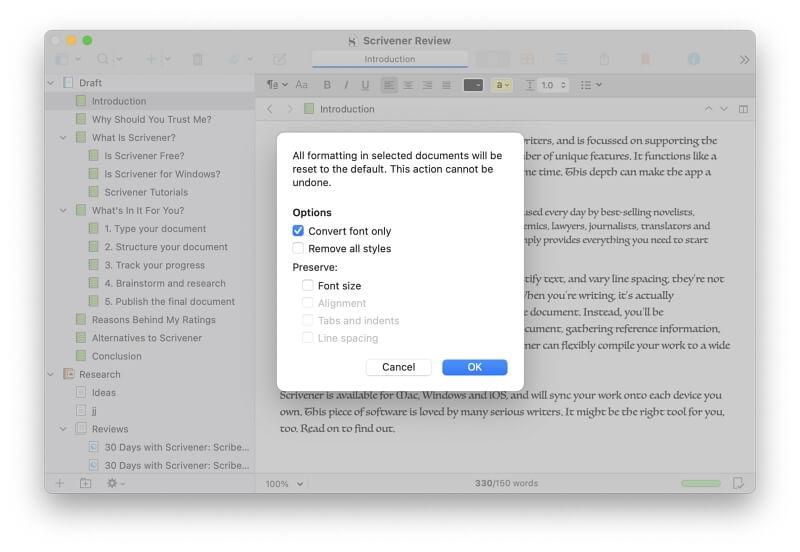 Change Default Font in Scrivener6