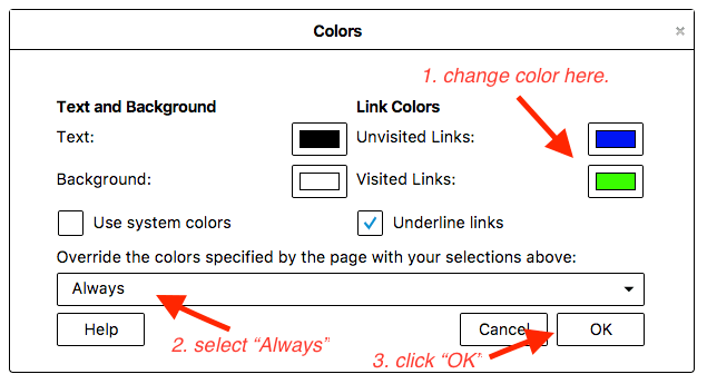 how to change color of visited links in chrome firefox safari