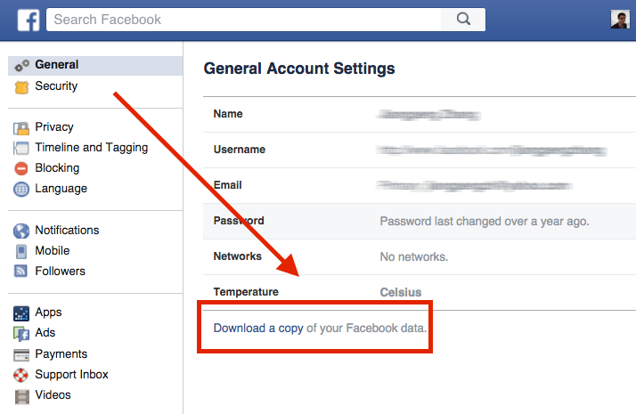 Facebook setting download a copy
