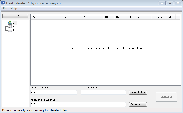 Free Undelete software interface