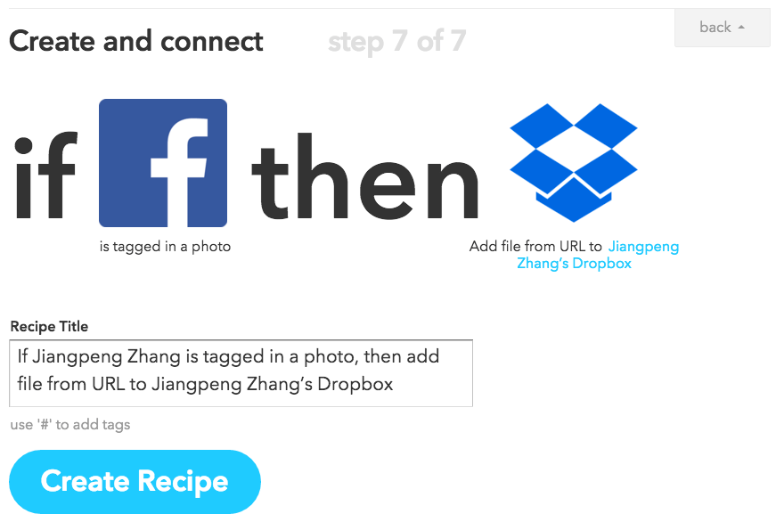 IFTTT Facebook to Dropbox
