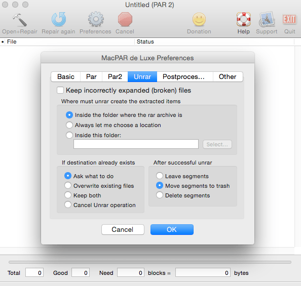 MacPar deLuxe unRar