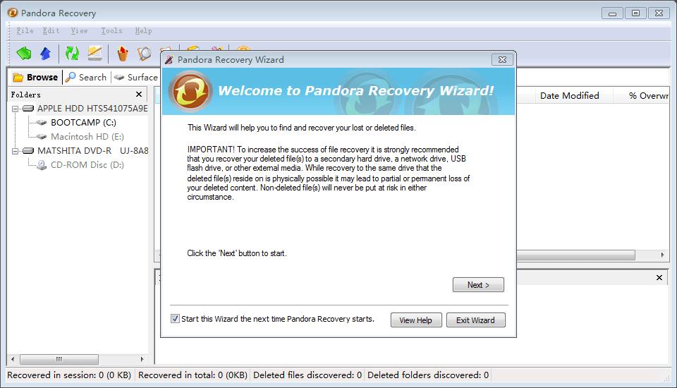 Pandora Recovery Wizard