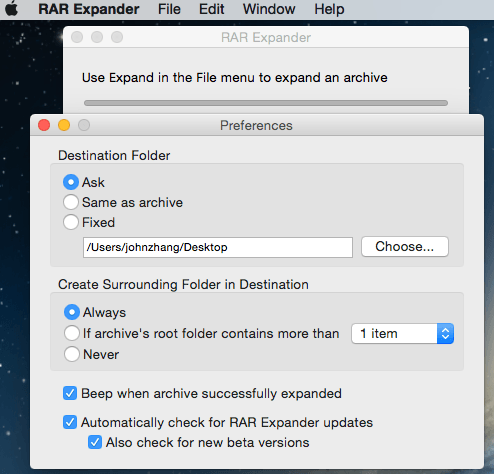 RAR Expander Mac Preferences