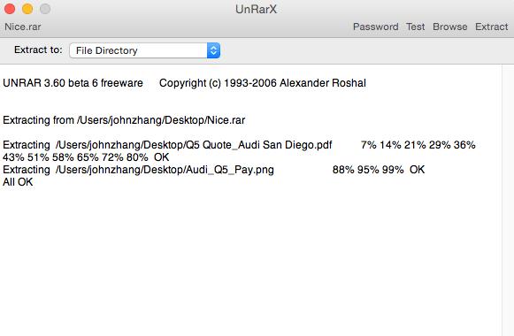 UnRarX program interface on Mac
