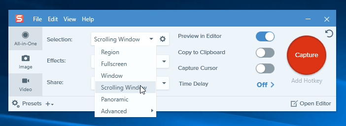 How to screenshot entire webpage 8 methods that still work step 2 locate the web page you want to screenshot then move the cursor to that area now snagit will be activated and youll see three yellow arrow ccuart Image collections