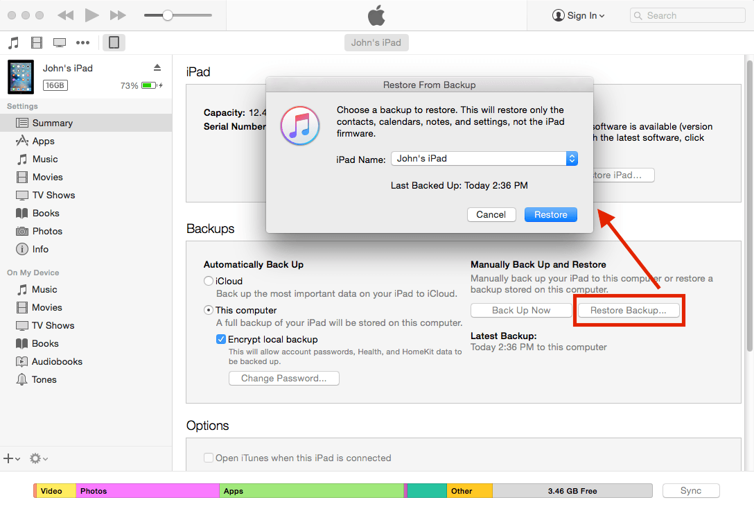 Screenshot restore iPad backups in iTunes Mac