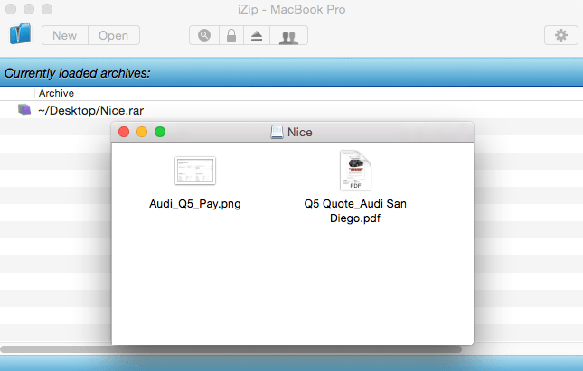 iZip for Mac interface