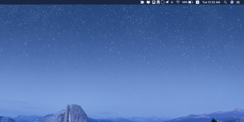 mac desktop with icons on menu bar
