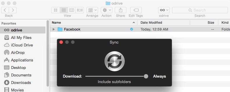 odrive desktop syncup file icon
