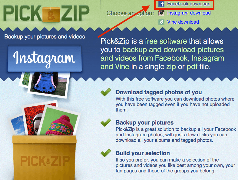 picknzip Facebook Download homepage