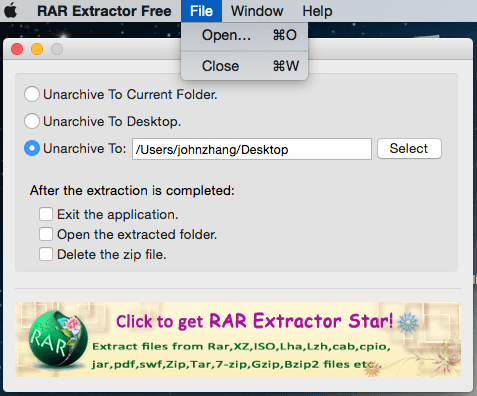 RAR extractor free Mac interface