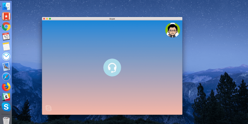 Skype app running on Mac